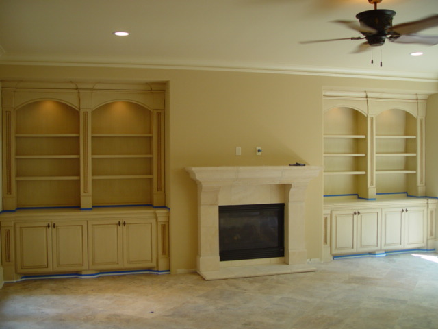 Brilliant Living Room Built Ins Shelves Cabinets Media Sand Microfiber Rolled Arm Sofa Throughout Design